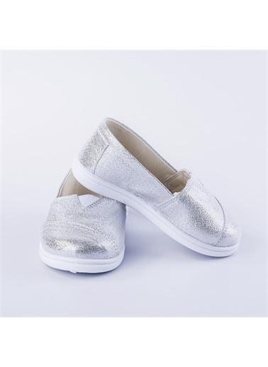 First Step Pullu Toms Keten Ayakkabı  F-454 Gümüş